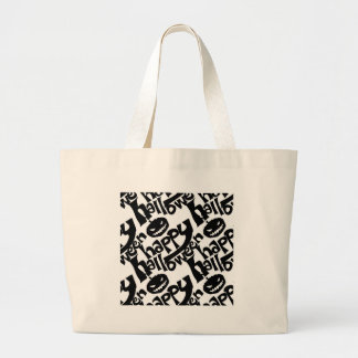 happy hallloween tiled black and white large tote bag