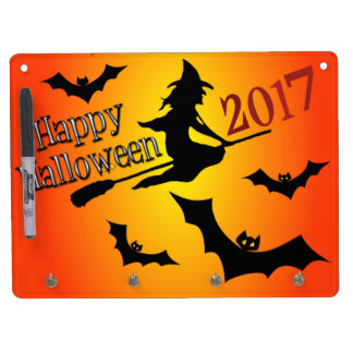 HAPPY HALLOWEEN 2017 DRY ERASE BOARD WITH KEYCHAIN HOLDER