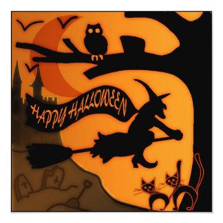 "Happy Halloween 5.25"" Square Invitation Card"
