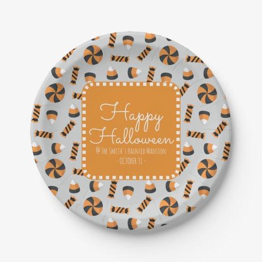 Happy Halloween Assorted Candies 7 Inch Paper Plate