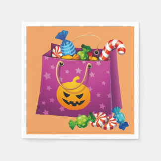 Happy Halloween bag full of candy Napkin