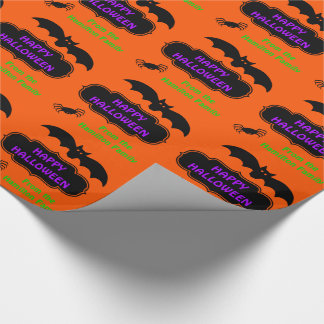Happy Halloween Bat and Spider Personaliized Wrapping Paper