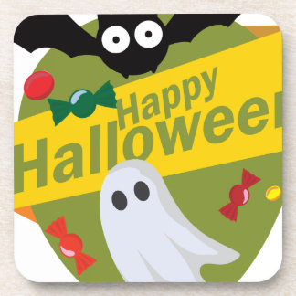 Happy Halloween Bats and Ghosts Coaster