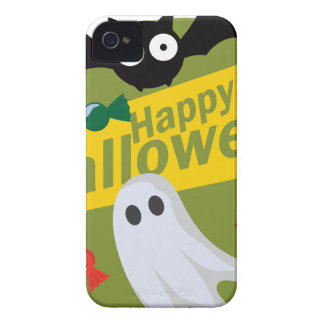 Happy Halloween Bats and Ghosts iPhone 4 Case-Mate Case