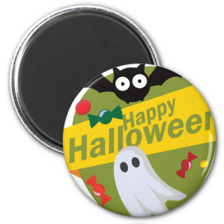 Happy Halloween Bats and Ghosts Magnet