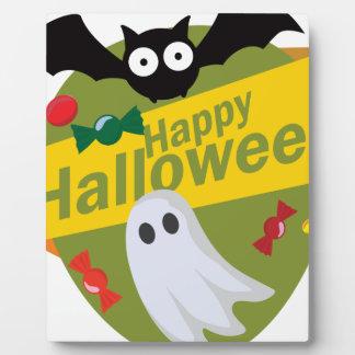 Happy Halloween Bats and Ghosts Plaque
