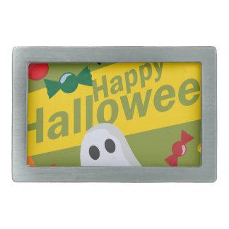 Happy Halloween Bats and Ghosts Rectangular Belt Buckle