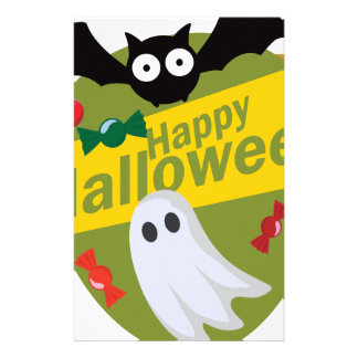 Happy Halloween Bats and Ghosts Stationery