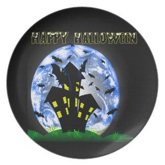 Happy Halloween Bats Haunted House Plate