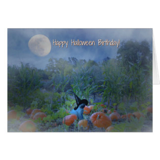 Happy Halloween Birthday Cute Cat Card