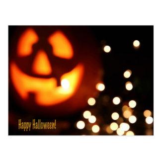 Happy Halloween Black and Orange Pumpkin Post card