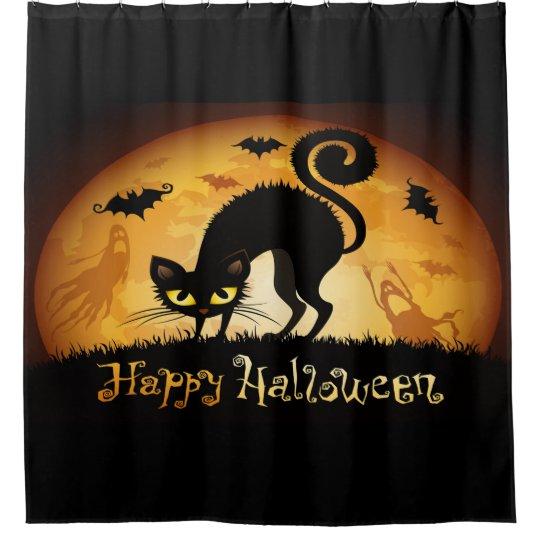 Happy Halloween Black Cat Bats And Ghost
