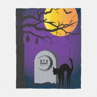Happy Halloween Black Cat Full Moon Bat Blanket