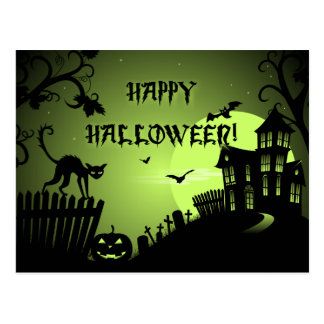Happy Halloween Black Cat Haunted House Postcard