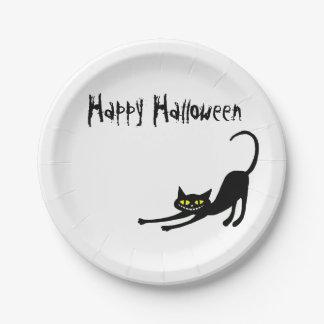 Happy Halloween Black Cat Paper Plate