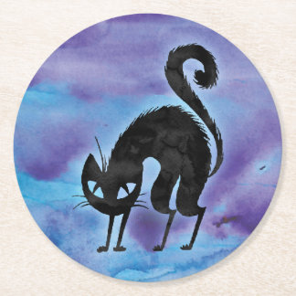 Happy Halloween Black Cat Party Coaster