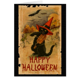 Happy Halloween Black Cat Playing Fiddle Bats Card