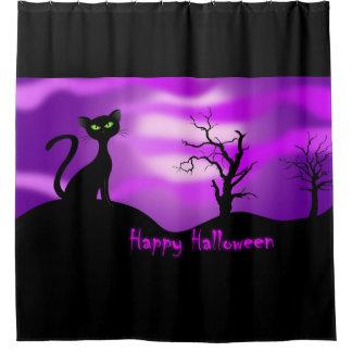 Happy Halloween Black Cat Purple