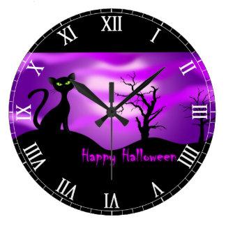 Happy Halloween Black Cat Purple Wall Clock