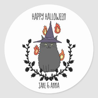 Happy Halloween Black Cat Witch Hat Party Favor Classic Round Sticker