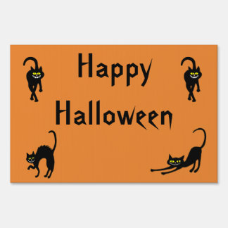 Happy Halloween Black Cats Yard Sign