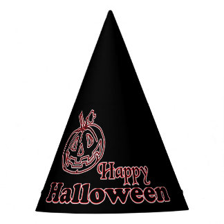 Happy Halloween Black Pumpkin Party Hat
