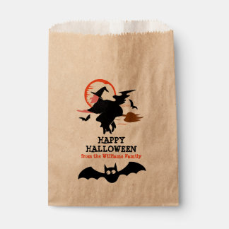 Happy Halloween Black Witch & Bats Personalized Favour Bag