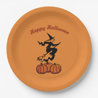 Happy Halloween - Black Witch on Orange 9 Inch Paper Plate