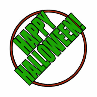 Happy Halloween Bold Green Text Design Photo Cutout