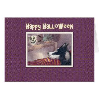 Happy Halloween, Border Collie dog hiding behind t Card