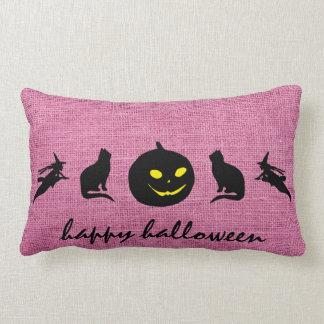 Happy Halloween Burlap Lumbar Pillow