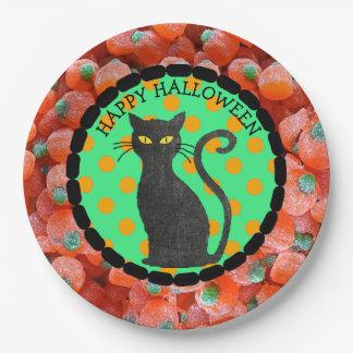 Happy Halloween Candy Black Cat Plates