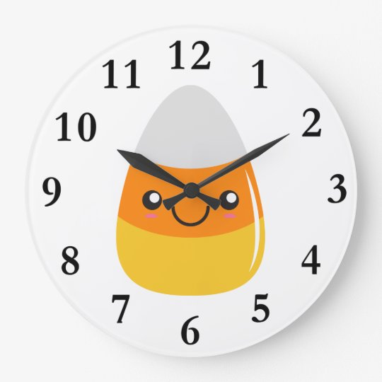 Happy Halloween Candy Corn Emoji Large Clock