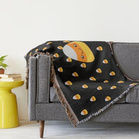 Happy Halloween Candy Corn Emoji Throw Blanket