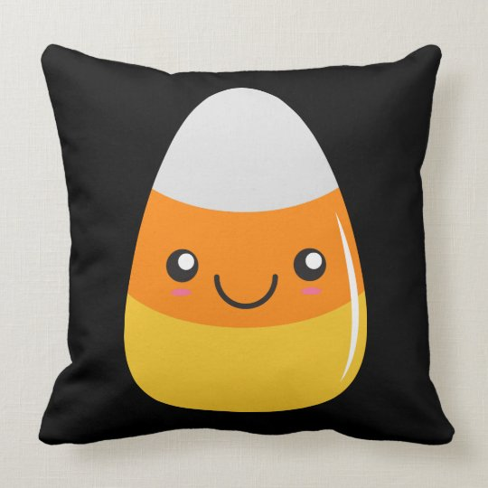 Happy Halloween Candy Corn Emoji Throw Pillow