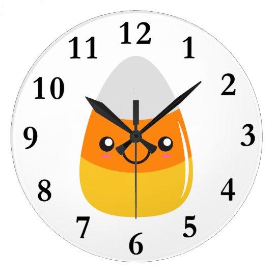 Happy Halloween Candy Corn Emoji Wall Clocks