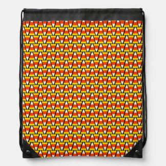Happy Halloween Candy Corn Pattern Drawstring Bag