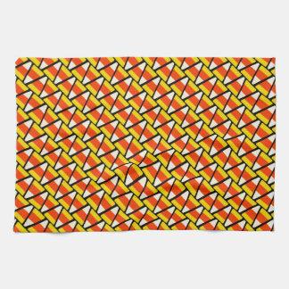 Happy Halloween Candy Corn Pattern Kitchen Towel