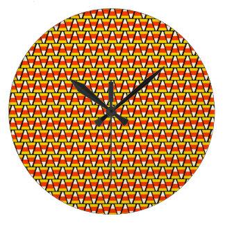 Happy Halloween Candy Corn Pattern Large Clock