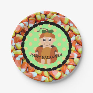 Happy Halloween Candy Corn Pumpkin Kid Plates