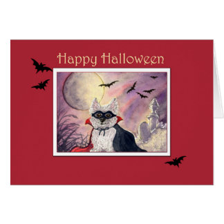 Happy Halloween card, corgi dog in cape and mask Card