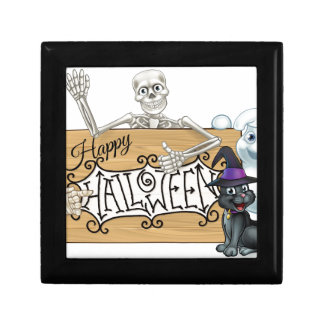 Happy Halloween Cartoon Monsters Sign Background Gift Box