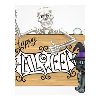 Happy Halloween Cartoon Monsters Sign Background Letterhead