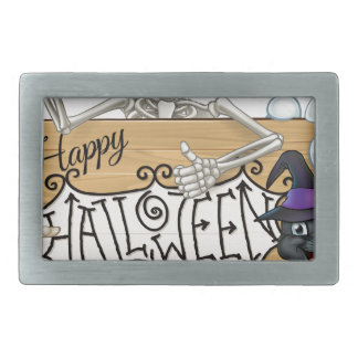 Happy Halloween Cartoon Monsters Sign Background Rectangular Belt Buckle