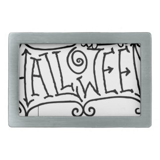 Happy Halloween Cartoon Sign Rectangular Belt Buckles