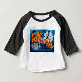 Happy Halloween Cartoon Witch Sign Baby T-Shirt