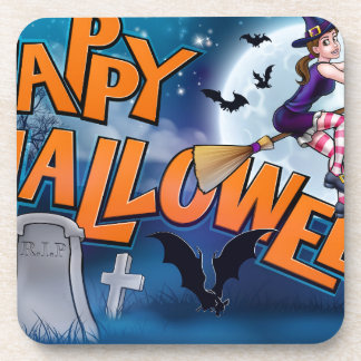 Happy Halloween Cartoon Witch Sign Coaster