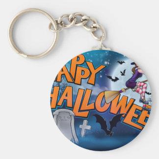 Happy Halloween Cartoon Witch Sign Keychain