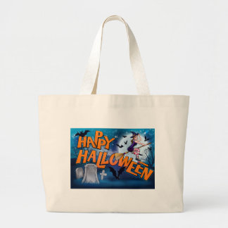 Happy Halloween Cartoon Witch Sign Large Tote Bag