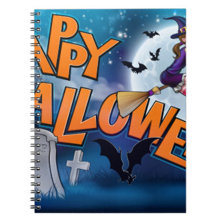 Happy Halloween Cartoon Witch Sign Spiral Notebook